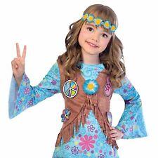 Chicas Azul Flower Power Hippy Años 60 baile infantil Parte de arriba de disfraz