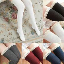 US Women 100% Cotton High Over Knee Socks Thigh Long Stockings Winter Warm Hose
