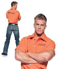 Prisoner Shirt Orange Convict Adult Mens Womens Fancy Dress Up Costume,