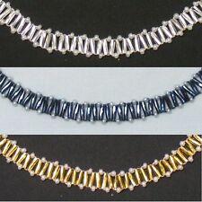 Zigzag Twist Beaded Necklace/Bracelet/Earrings Set - Pearl
