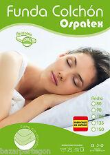 protector funda de colchón blanca facil colocación con cremallera, microfibra