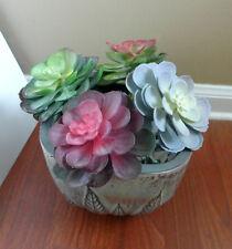 Four Colors Snow Lotus Plastic Artificial Succulents Plants Set of 2