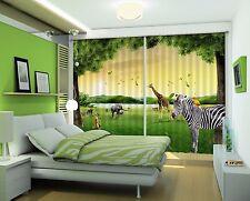 3D Animals Lawn 71 Blockout Photo Curtain Print Curtains Drapes Fabric Window UK