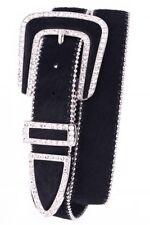 "Black Rhinestone Studded Buckle Fur Leather Belt -  1 1/2""wide"