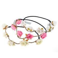 Ladies Flower Headband Hair Garland Festival Boho Rose Floral Wedding Forehead