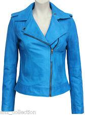 Gloria Ladies Brando Teal Biker Style Fashion Soft Napa Veg Leather Rock Jacket