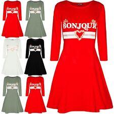 Womens Ladies Celebrity Inspired Long Sleeve Bonjour Printed Swing Mini Dresses