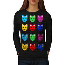 Colorful Cute Furry Cat Women Long Sleeve T-shirt NEW | Wellcoda