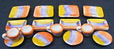 1:12 Scale 16 Piece Ceramic Yellow Blue & Red Tea Set Dolls House Miniature TS25
