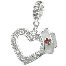 925 Sterling Silver Enamel Nurse Cap CZ Crystal Bead For European Charm Bracelet