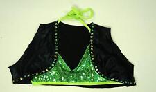 Flashy Bright Neon Lime Green Solo Duet Dance Costume Halter Top Flash sale