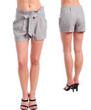 Womans Hot pant wide waist career shorts Linen cotton