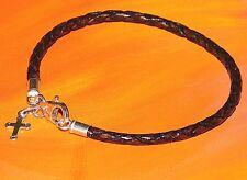 Ladies 3mm brown leather & sterling silver Cross charm bracelet by Lyme Bay Art.