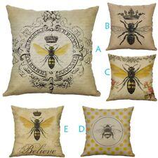 Fashion Simple European style Retro Small Bee Linen Pillow Home Cushion Cover