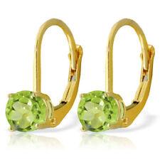 Genuine Peridot Gemstones Studs Leverback Earrings 14K. Yellow, White, Rose Gold