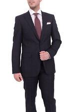 Mens Napoli Slim Fit Navy Blue Tonal Plaid Half Canvassed Super 150s Wool Suit