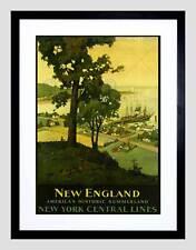 TRAVEL NEW ENGLAND YORK RAIL HARBOUR VINTAGE ADVERT FRAMED ART PRINT B12X1639