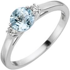 Ring with 2 Diamonds Brilliants Aquamarine Light Blue 585 Gold White