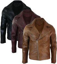 Mens Slim Fit Tan Brown Maroon Classic Cross Zip Brando Leather Biker Jacket