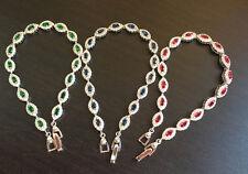 Marquise topaz 925 Sterling Silver Bracelet love heart gift Her wedding MOM-BL14