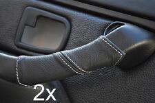 Adatto a BMW Z3 1995-2003 Bianco Stitch 2x PORTA MANIGLIA copre in pelle