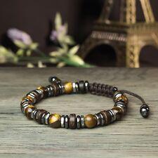 * New Style Shamballa Bracelet Homme/Femme perles Pierres Gemmes Bois Coco Inox