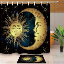 Golden sun crescent moon  Shower Curtain Bathroom Decor Fabric & 12hooks 71*71in