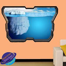 Iceberg sous l'eau art 3D Fenêtre Autocollant Mural Art Chambre Décoration Autocollant Murale ZX0