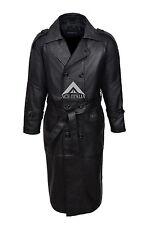 Men's Overcoat Black Real Sheep Leather Full Length Long DB Trench Coat 6965