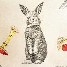 Rabbit fabric, toadstools woodland animal fabric, cotton, linen look, bunny