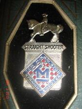 RARE VTG TOM MIX STRAIGHT SHOOTER BADGE PIN RALSTON PREMIUM SILVER TONE METAL