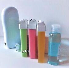 kit épilation 18 cire roll on+huile+chauffe cartouche+bande d'epilation-miel-