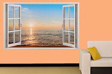 TRAMONTO SULLA SPIAGGIA MARE calmo 3d Adesivo Parete Finestra Decorazione Per Soggiorno Decalcomania Murale