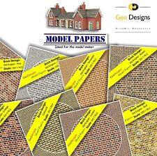 X4 sheets Model Maker Railway Brick Building Paper 00 Scale Gauge 1:76:2 4mm