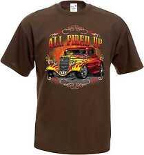 T Shirt im Braunton mit einem Hot Rod-,US Car-,`50 Stylemotiv Modell All Fired U