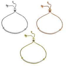 Sterling Silver CZ Stones Tennis Lariat Bracelet