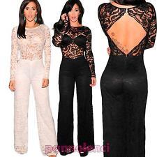 6a918bf5037e Overall tuta intera donna tutina pizzo pantaloni schiena nuda nuova DL-1269