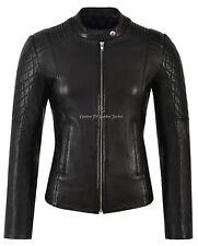 Ladies Leather Biker Jacket Diamond Shape Quilted Sleeves Work Black Fitted 9565