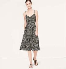 NWT Ann Taylor Loft Black Vine Mid-Length Pocket VNeck Silho Cami Dress $69 XS-L