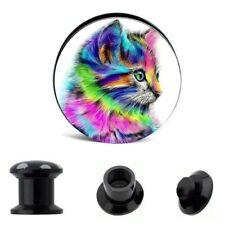 """PAIR Rainbow Cat Ear Gauges Ear Plugs Flesh Tunnel 6g - 5/8""""  Acrylic SCREW"""