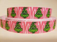 "Grosgrain Ribbon The Grinch Face Light Pink Zebra Christmas Cartoon Movie 7/8"""