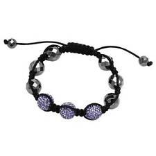 Stylish Bracelet With Genuine Crystal in Purple Enamel and Black Silk.
