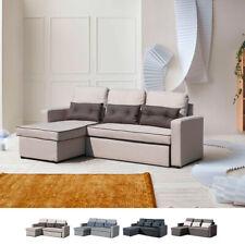 Divano letto penisola ad angolo modulare 3 posti e cuscini SMERALDO soggiorno