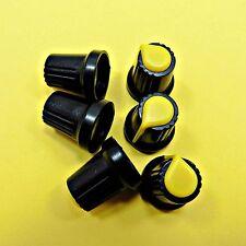 Black / Yellow Plastic Potentiometer Rotary Control Knob Caps 6mm Shaft Hole