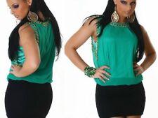 SeXy Miss Damen Chiffon Mini Kleid Kette Dress S/M 34/36 M/L 36/38 grün schwarz