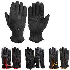 Women's Summer Zipper Gloves Biker Full Finger Motorcycle Sports Driving Leather