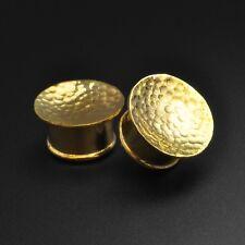 Brass Ear Stretchers Plugs  | Hammered Mayan | 8mm - 16mm | Lead & Nickel Free