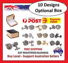 Mens Watch Movement Clockwork Work Steampunk Vintage Cufflinks + PU Leather Box