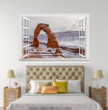 3D Rocks White Snow 1005 Open Windows WallPaper Murals Wall Print AJ Jenny