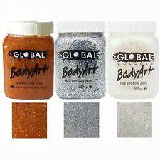 Global BodyArt Glitter Gel 200ml Jar Makeup Face Body Paint Gold Silver Ultra